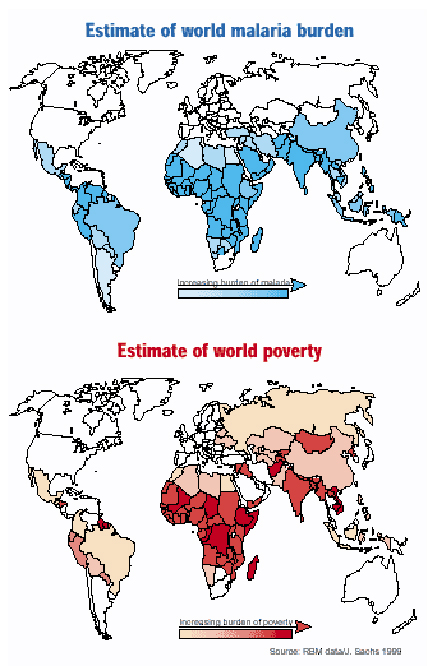 World malaria burden / World poverty map